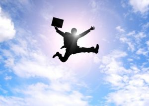 飛躍する営業マン