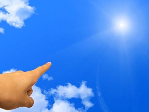 日を指す指