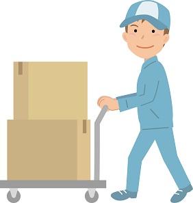 ②その部品や材料をあけて、工場のラインの作業する場所に運ぶ(台車やハンドリフトを使ったりする)2